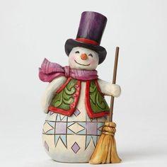 Ready, Set, Snow!-Pint-Sized Snowman With Broom Figurine