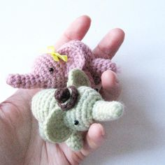 Percy the elephant is super cute, small and very easy to make! It takes about 1 and a half hours or so, and can be done in any yarn, though I prefer a DK with a 2.5mm hook - Percy fits nicely in the palm of a hand - tiny!Wouldn't he make a great last minute gift or a party favor?