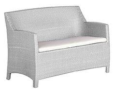 Divano a 2 posti in alluminio e tecnorattan Alassio bianco - 72x88x120 cm