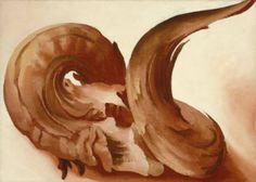 Horns O'Keeffe, Georgia 1943 oil on canvas 9 3/4 x 13 3/4 in