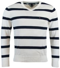 Tommy Hilfiger Mens Striped V-Neck Pullover Sweater - XL - Cream/Navy Tommy Hilfiger http://www.amazon.com/dp/B00JDRNKQM/ref=cm_sw_r_pi_dp_puXyub0DQWRFW