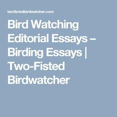 Bird Watching Editorial Essays – Birding Essays | Two-Fisted Birdwatcher