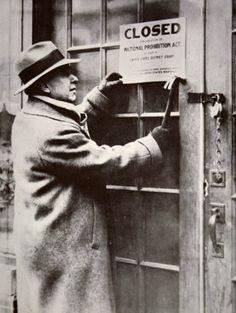 1920's. U. S. Prohibition. Closing a saloon