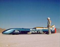 Mickey and Danny Thompson at Bonneville Salt Flats in 1968, the day before Mickey's record attempt in the Challenger II was shut down because of rain. Description from ocregister.com. I searched for this on bing.com/images