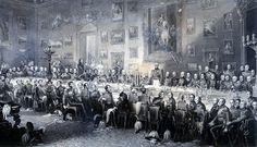 1836   Annual Banquet to commemorate Battle of Waterloo. Interior of Apsley House showing the Duke of Wellington giving the annual banquet for his companions in arms on the anniversary of the Battle of Waterloo, which took place on 18th June 1815.  Painted 1853  by  William Salter.    via London Metropolitan Archives.