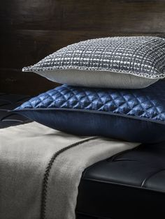 Siam Cushion in Mercury backed with Sack Cloth Sesame, Opera Quilted Cushion in Sapphire and Cashmere Traveller Throw in Grey/Taupe with Leather detail.