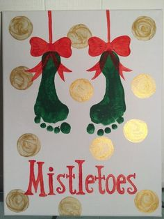 Mistletoes footprint art Crafts DIY Christmas Gifts for Dads on a Budget - Shadow Boxes Kids Crafts, Daycare Crafts, Baby Crafts, Preschool Crafts, Christmas Crafts For Kids To Make Toddlers, Baby Footprint Crafts, Infant Crafts, Daycare Rooms, Toddler Christmas Crafts