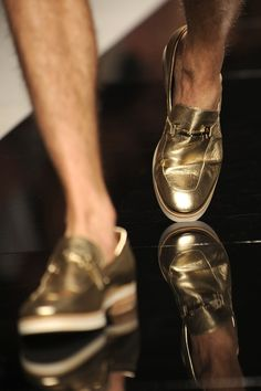 Gold Leather and White Soled Loafers. Men's Spring Summer Fashion. - Need it