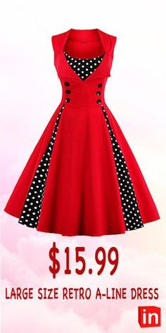 Women s plus size party holiday going out vintage a line dress polka dot red print wine light blue green xxl xxxl xxxxl plus size floral flare sleeve blouse milk white size l Women's A Line Dresses, Cute Dresses, Beautiful Dresses, Vintage Fashion 1950s, Mode Vintage, Look Gamine, Mode Lolita, Vintage Dresses Online, Red Midi Dress