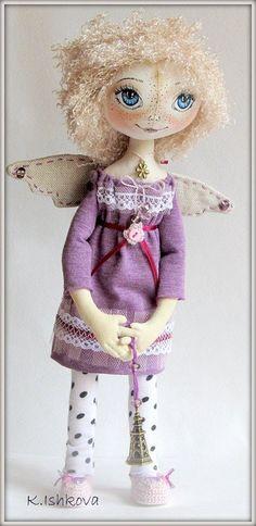 Textile cloth doll Viola fairy by kseniyaishkova on Etsy, $80.00