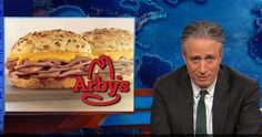 Arby's thanks Jon Stewart for being a friend after years of ridicule from 'The Daily Show', and then makes a sandwich in his honor.