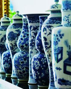 Blue-and-white porcelain ginger jars line Aerin Lauder's mantle.