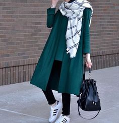 Hijaby Fashion Wear | Autumn/Winter Outfit | Trendy & Casual | Love the scarf & the color of the jacket COMBO