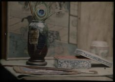 [Vase with peacock feather,  lacquered box and paint brushes]; George H. Seeley (American, 1880 - 1955); March 14, 1914; Autochrome; 12.7 x 17.8 cm (5 x 7 in.); 84.XT.710.2; Copyright: Status undetermined