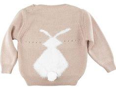 Roupinhas de inverno para os pequenos: casaquinho de coelho com pompom nas costas. Uma graça!