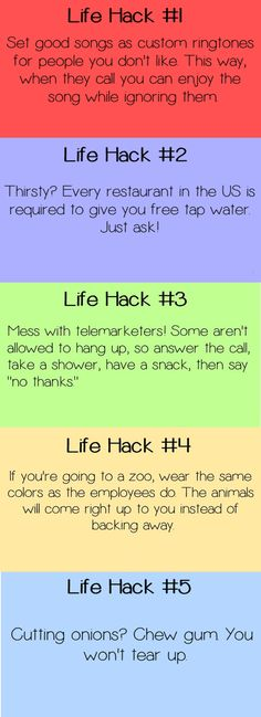 5 life hacks, the telemarketer one is funny!