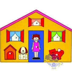 Quebra Cabeça Grande Casinha, Quebra Cabeça de Pinos de Madeira, Quebra Cabeça Pipoquinha, Brinquedos Pipoquinha, brinquedos educativos, brinquedos