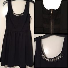 Princess Vera Wang little black dress  Gorgeous dress with jeweled detailing at the neckline and sheer paneling in the back. In excellent condition - impulse purchase that was never worn Vera Wang Dresses Mini