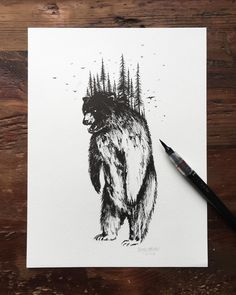Finishing up the last few pieces for a solo Portland art show later this month. Stay tuned for further details. Art D'ours, Bear Sketch, Bear Tattoos, Graphisches Design, Bear Art, Tattoo Sketches, Cool Art, Art Drawings, Illustration Art