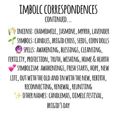 Imbolc correspondences! Wiccan Witch, Wicca Witchcraft, Magick, Wiccan Magic, Wiccan Sabbats, Paganism, Paz Mental, Witch Spell, Baby Witch