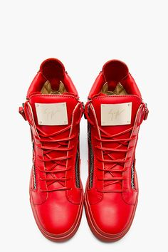 GIUSEPPE ZANOTTI Red Leather High-Top Sneakers