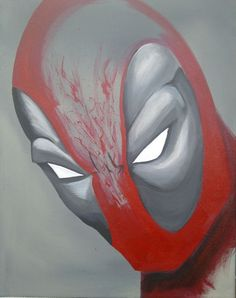 Most recent Deadpool painting. I love the minimalist, unfinished style. Good sized painting. It's for sale!