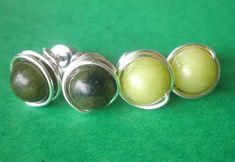 Connemara, Green Marble, Shades Of Green, Pearl Earrings, Silver, Etsy, Vintage, Jewelry, Pearl Studs