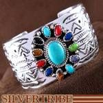 Genuine Sterling Silver and Multicolor Native American Navajo Hand Crafted Bracelet