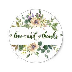 Anemone Greenery Love Thanks Floral Boho Wedding Classic Round Sticker #zazzlemade #bohochic #winterwedding #fallwedding