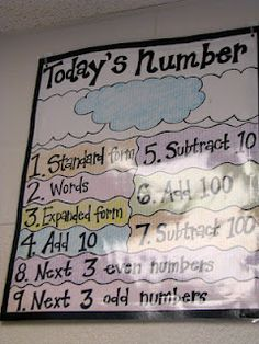 Love this idea for AM work: Number of the day chart- can be modified for different grades. I.e. multiply by, divide by, include fractions or decimals