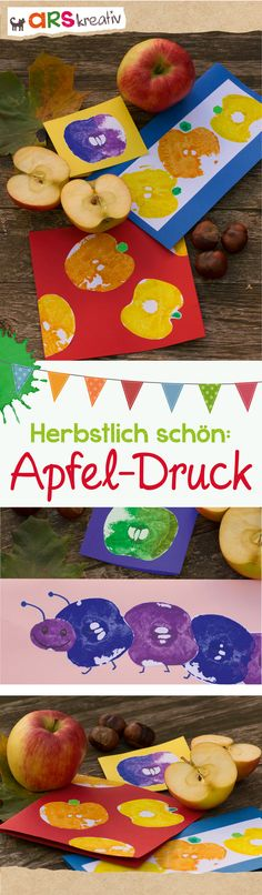 Aus einem einfachen Apfel wird im Handumdrehen ein toller Stempel. So hast du sc. New Crafts, Diy And Crafts, Arts And Crafts, Recycled Crafts, Toddler Crafts, Preschool Activities, Diy For Kids, Crafts For Kids, Autumn Crafts