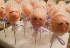 cake pops for baby shower | baby bonnet cake pops check out the cake pops at bakerella com and her ...
