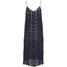 Katie Ermilio Floral Wool Lace Slip Dress ($598) ❤ liked on Polyvore featuring dresses, floral dress, midi dress, navy dress, navy blue camisole and navy blue dress
