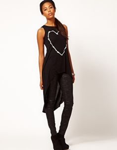 River Island Skeleton Heart Tunic Top $18.29