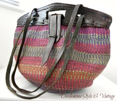 Vintage sisal bag with genuine leather top and strap