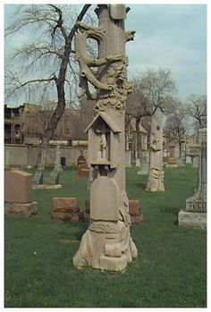 "I love these tree trunk stones found all over Illinois! Amazing ""tree"" gravestone, St Boniface Cemetery, Chicago."