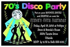 Custom 70s theme party invitation I design YOU PRINT 70s theme