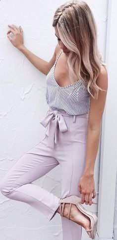 summer outfits Striped Tank   Blush Skinny Pants