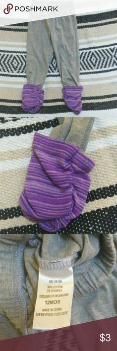 12M pants Cute grey pants with purple bottoms. Bottoms