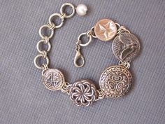 Vintage military button bracelet, adjustable. Follow D. Wallace Designs on Facebook.