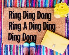 Ring ding dong..... Ring Ding Dong, 1990s Hip Hop, Heavy Rubber, Doormat, Porch Decorating, Make And Sell, House Warming, Happy, Rings
