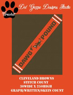 (4) Name: 'Crocheting : Cleveland Browns Scarf 30x250