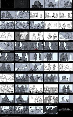 DA:I – Storyboard for the Coronation: Matt Rhodes -Dragonage inquisition We had the opportunity to work with the cinematics team for several months working on storyboards. We worked fast and dirty, and rarely did less than five versions of a scene. Storyboard Film, Storyboard Examples, Storyboard Drawing, Animation Storyboard, Comic Drawing, Animation Reference, Art Reference, Comic Tutorial, Comic Layout
