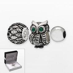 Individuality Beads Sterling Silver Crystal Owl, Openwork & Spacer Bead Set