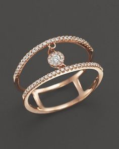 Diamond Double Row Ring with Cluster Center in Rose Gold, ct. Saved to Jewelry & Accessories. Rose Gold Jewelry, Diamond Jewelry, Jewelry Rings, Jewelry Accessories, Fine Jewelry, Jewelry Design, Jewellery, Jewelry Findings, Jewelry Making