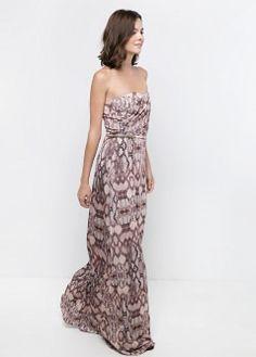 Vestido largo drapeado - Vestidos de Mujer | MNG