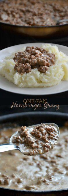 Recipe - One Pan Hamburger Gravy Recipe by the36thavenue.com Main dish, side dish, hamburger: