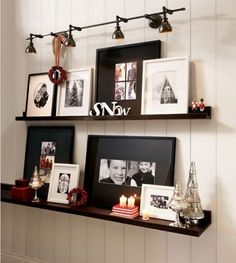 Picture shelves from Ikea to display books as wall art! Put up books with cool covers in the living room, or even recipe books in the kitchen