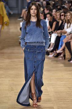 Paris womenswear fashion week: 10 key shows – in pictures - Chloe Fashion Mode, Denim Fashion, Look Fashion, Spring Fashion, Fashion Outfits, Womens Fashion, Fashion Trends, Ladies Fashion, Fashion Usa