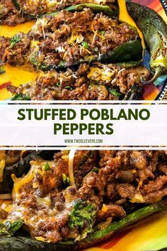 These Stuffed Poblano Peppers are the perfect way to mix things up for Taco Tuesday! Not to mention they& low carb and take under 30 minutes to make. Healthy Low Carb Recipes, Low Carb Dinner Recipes, Quick Recipes, Beef Recipes, Cooking Recipes, Poblano Recipes, Pepper Recipes, Seafood Recipes, Pablano Pepper Recipe